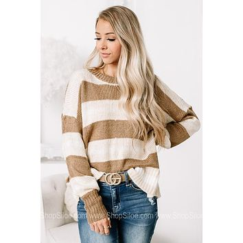 A Simple Discovery Sheer Knit Distressed Sweater