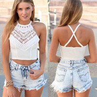 New Sexy Women Crop Top Crochet Lace Tank Spaghetti Strap Backless Summer Vest Camisole Bralette Crop Tops White Plus Size 41