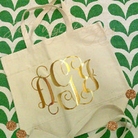 Personalized Tote, Monogram Tote, Metallic Monogram, Bridesmaid Gift, Valentines Gift