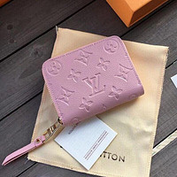 Louis Vuitton LV fashion men's and women's printed letter flip small wallet pink