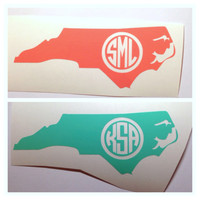 North Carolina or any other state Monogrammed Decal - Cute Custom 4 inch Monogram Sticker for Car Laptop Ipad - State Pride - State Love