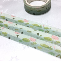 water lily pond masking tape 7M watercolor lotus lily flower masking tape green leave garden pond plants deco tape sticker scrapbook gift
