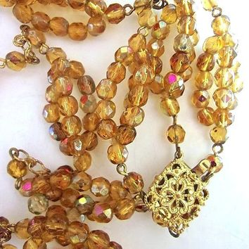 Art Deco Czech Necklace Amber Glass Beads, Double Strand, AB Coated, Vintage