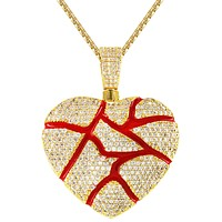 Men's Broken Heart Love Red Iced Out 14k Gold Finish Pendant Set