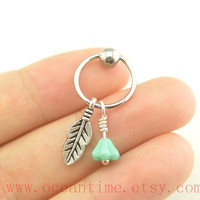 leaf and flower Tragus Earring Jewelry,teal flower Cartilage Hoop Earring cool ear Helix Cartilage jewelry,oceantime