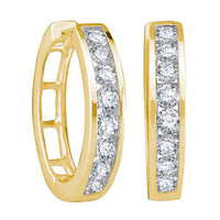 14k Yellow Gold 0.25Ctw Round Diamond Ladies Fashion Hoop Earrings: Earrings