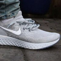 Nike Epic React Flyknit Sneakers Wolf Grey Size 7 8 9 10 11 12 Mens Shoes New