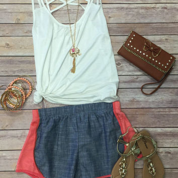 Chambray Terry Side Shorts: Coral