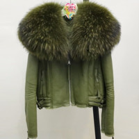 Mari Olive Fur Motorcycle Jacket