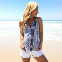 Blue A Kiss Printed Blouse