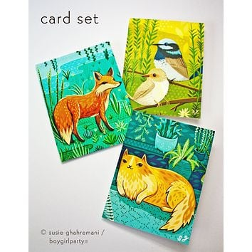 Flora + Fauna Notecard Set (of 3) –Colorfully Illustrated Cards by Susie Ghahremani