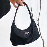 Onewel PRADA Bag Nylon Retro Hobo-Underarm Bag-Leisure-Crescent Black Crossbody Bag