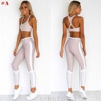 US Women's Crop Top+Yoga Pants Trousers Gym Workout Outfit Set Athletic Apparel