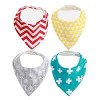 Ziggy Baby Neutral 4 Pack Multicolor Bandana Bib Set