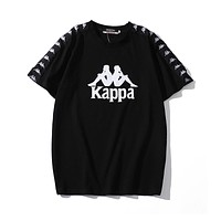 Kappa Summer Popular Couple Casual Print Cotton T-Shirt Top Black
