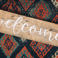 Welcome - Handmade Reclaimed Barn Wood Sign 26-in