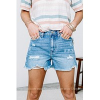 Sunny Strolls Light Wash Denim Shorts