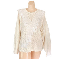 White Sweater 80s Sweater White Lace Sweater Pearl Sweater Boho Sweater 1980s Sweater White Lace Shirt Pullover Sweater White Clothing Knit