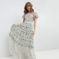 Needle & Thread Embroidered Floral Gown with High Neck and Tiered Skirt at asos.com