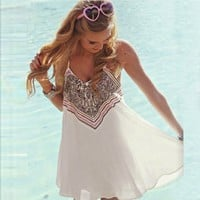 Bohemian Lady Girls Sleeveless Sundress Short O-Neck Mini Dress Vest Chiffon Beach Dresses White Casual