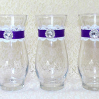 Wedding Vases Purple and White Lace Clear Glass With Rhinestone Set of 3 Perfect Bouquet Vase For Wedding Party