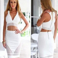 Feelingirl Two Pcs White Sexy V-neck Bodycon Dress Zipper Back Lace Hollow Out Party Dress = 1696883524