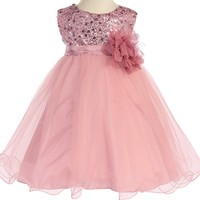 Baby Girls Rose Pink Sequin Party Dress w. Lettuce Tulle Hem 3-24m