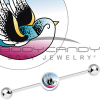Stainless Steel Blue Pink Flying Bird Industrial Barbell   Body Candy Body Jewelry