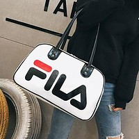 FILA 2019 new fashion personality letter printing couple models sports handbag Messenger bag White