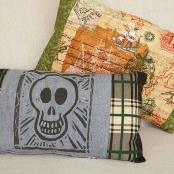 Pillows for Guys Smiling Skull or Sailing Adventure Your Choice of One
