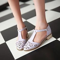 Cutout Pointed Toe Buckle Gladiator Sandals Women Low Heeled Shoes Woman