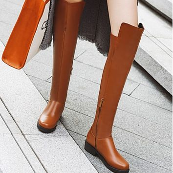 Hot style sells fashionable low-heeled thigh-high boots