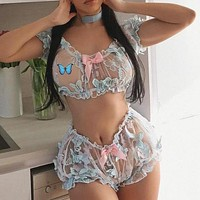 Three-dimensional butterfly mesh embroidery hollow perspective sexy two-piece suit