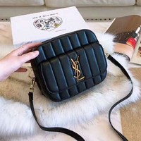 YSL Newest Fashionable Women Shopping Bag Leather Shoulder Bag Crossbody Satchel Black
