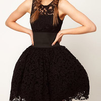 Black Sleeveless Ball Gown Lace Dress