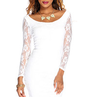 White Lace Long Sleeves Sexy Body Con Dress