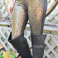 Here's To The Good Times Leggings: Black/Gold