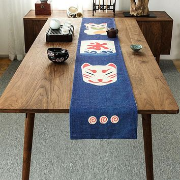Lucky Cat Mask Table Runner