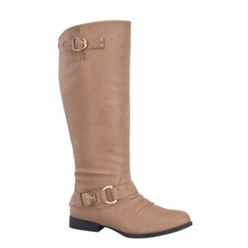 Style and Flare~Knee High Buckle Accent Tall Taupe Boots