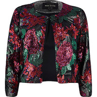 River Island Womens Red floral sequin embellished jacket