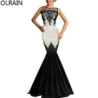 Olrain Women's Sequins Applique Backless Maxi Evening Party Ball Gown Prom Mermaid Dress