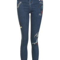 MOTO Scribble Embroidered Jamie Jeans