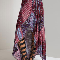 Multicolor Tribe Pattern High-low Wrap Skirt