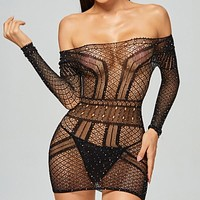 Women Sexy Rhinestone Off The Shoulder Lingerie Dress