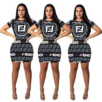 FENDI Summer Newest Women Sexy Print Short Sleeve Dress-1