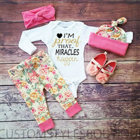 Baby Girls Coming Home Outfit, White Long Sleeved Onesuit, Pink Mint Floral Leggings,Hat and Headband,Baby Girls Outfit Set