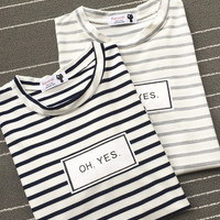 "White ""Oh Yes"" Print with Gray Stripes Short Sleeve Shirt"