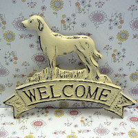 Dog Welcome Door Plaque Shabby Style Chic Cream Off White Labrador Retriever Canine Vet Groomer Hunt Cabin Greeting Sign Pet Lover Gift Idea