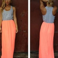 Neon Coral Maxi Dress with Grey Top and Button Detail
