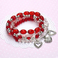 Valentine red heart beaded stretch bracelets, heart charm jewelry,Valentine's Day Gift, red heart bracelet, valentines gift, heart jewelry